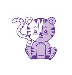 Silhouette cute tiger wild animal with face vector