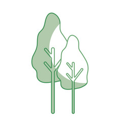 Silhouette natural trees with botany icons vector