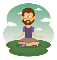 Sitting hippie man meditating vector