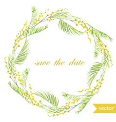 Spring flowers card symbol mimosa wreath8 vector