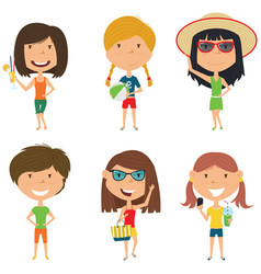 Summer female characters vector