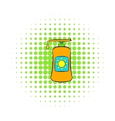 Sunscreen cosmetic icon comics style vector