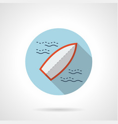 surfboard flat blue round icon vector image