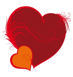 two hearts valentines day vector image