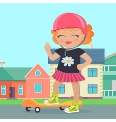 Young girl in helmet sateboard in park vector