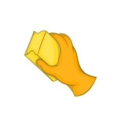 Hand in glove with rag icon cartoon style vector image