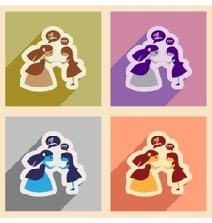 Set of flat web icons with long shadow bride vector