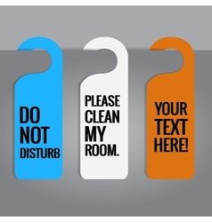 Set of hotels door hanger tags vector