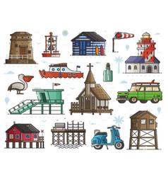 Seaside town maritime set vector
