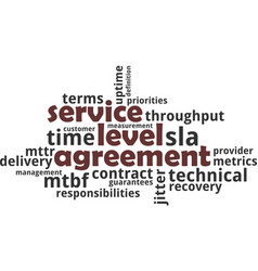 word cloud - service level agreement vector image