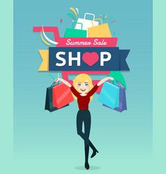 Cartoon woman holding shopping bag with shopping vector