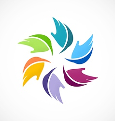 Colorful circular abstract leaf logo vector