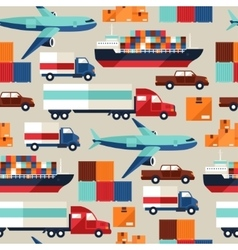 Freight cargo transport seamless pattern in flat vector