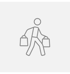 Man carrying shopping bags line icon vector