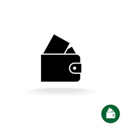Purse black simple icon with full of money vector