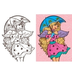Colouring book of girl with umbrella vector