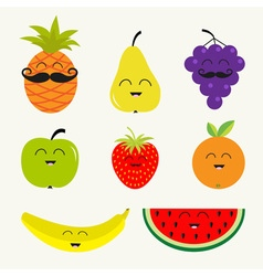 Fruit berry set cartoon character face mustache vector