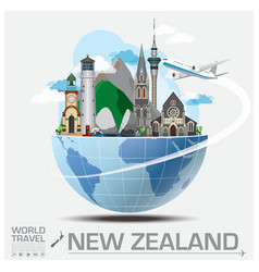 New zealand landmark global travel and journey vector