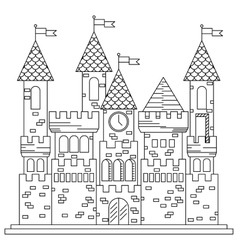 Fairytale royal thin line castle or palace vector