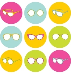 Set of sunglasses with different frames vector