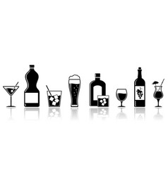 alcohol drinks icons banner design vector image
