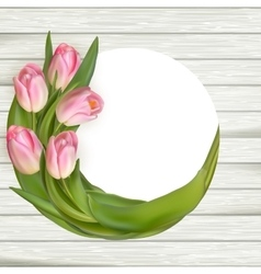 Beautiful tulips on wooden background eps 10 vector