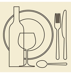 Bottle wineglass plate and cutlery vector image vector image