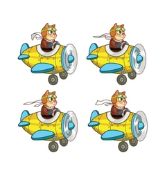 Cartoon cat pilot sprite vector