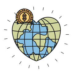 Colorful silhouette money box in globe earth world vector