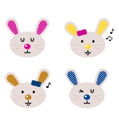 cute bunny heads vector image