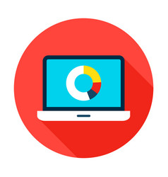 Data analytics flat circle icon vector