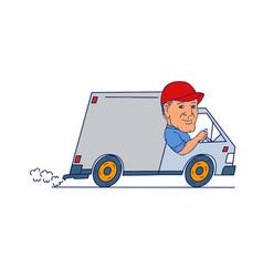 Delivery man driving truck van cartoon vector