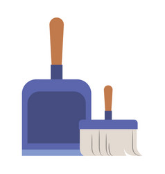 dustpan and hand broom in colorful silhouette vector image