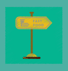 Flat shading style icon fast food sign vector