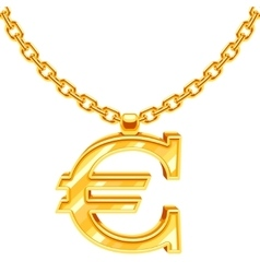 Gold necklace chain with euro symbol vector
