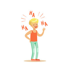 Happy blonde boy in casual clothes laughing out vector
