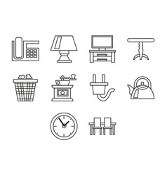 home and furniture icon set vector image