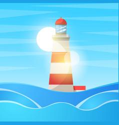 lighthouse sea - cartoon landscape vector image vector image