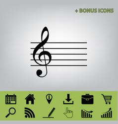 Music violin clef sign g-clef black icon vector