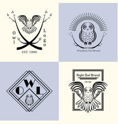 owl badge set vector image