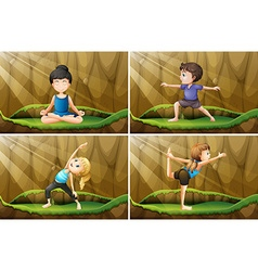 People doing yoga on the grass vector