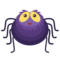 purple spider with happy face vector image vector image