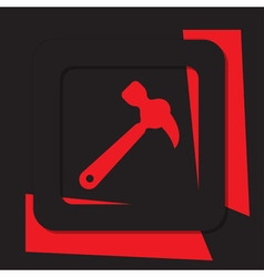 Red icon with black border - claw hammer vector