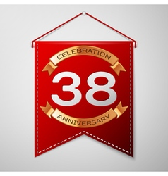 Red pennant with inscription thirty eight years vector