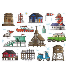 Seaside town maritime set vector