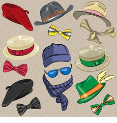 set hipster hats scarves bow tie glasses vector image