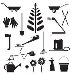 Set Icons of Garden Tools vector image