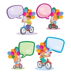 Set icons small children on bicycles vector