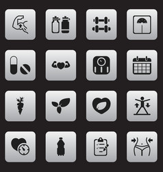 set of 16 editable exercise icons includes vector image