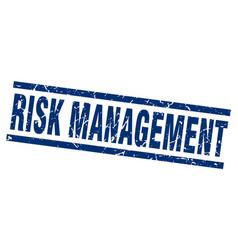 Square grunge blue risk management stamp vector